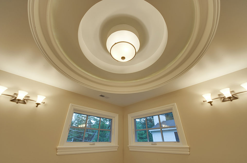 1005-Queens-Glenview - Master-Bathroom-Lights-On - Globex Developments Custom Homes