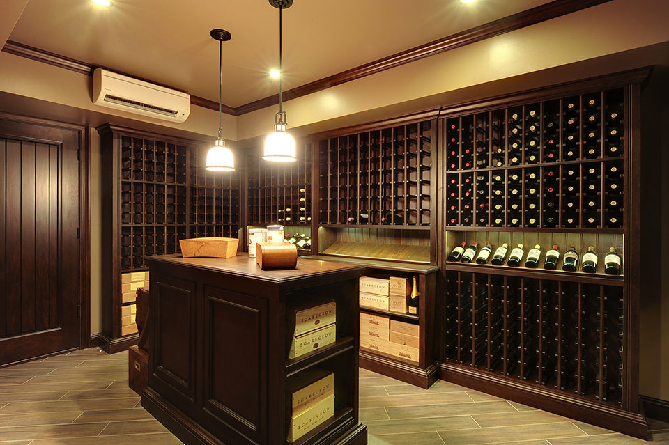 Custom Wine Cellar - Custom Wine Cellar with tasting table in center  Queens Ln., Glenview, Glenview Haus Photo Gallery, Chicago