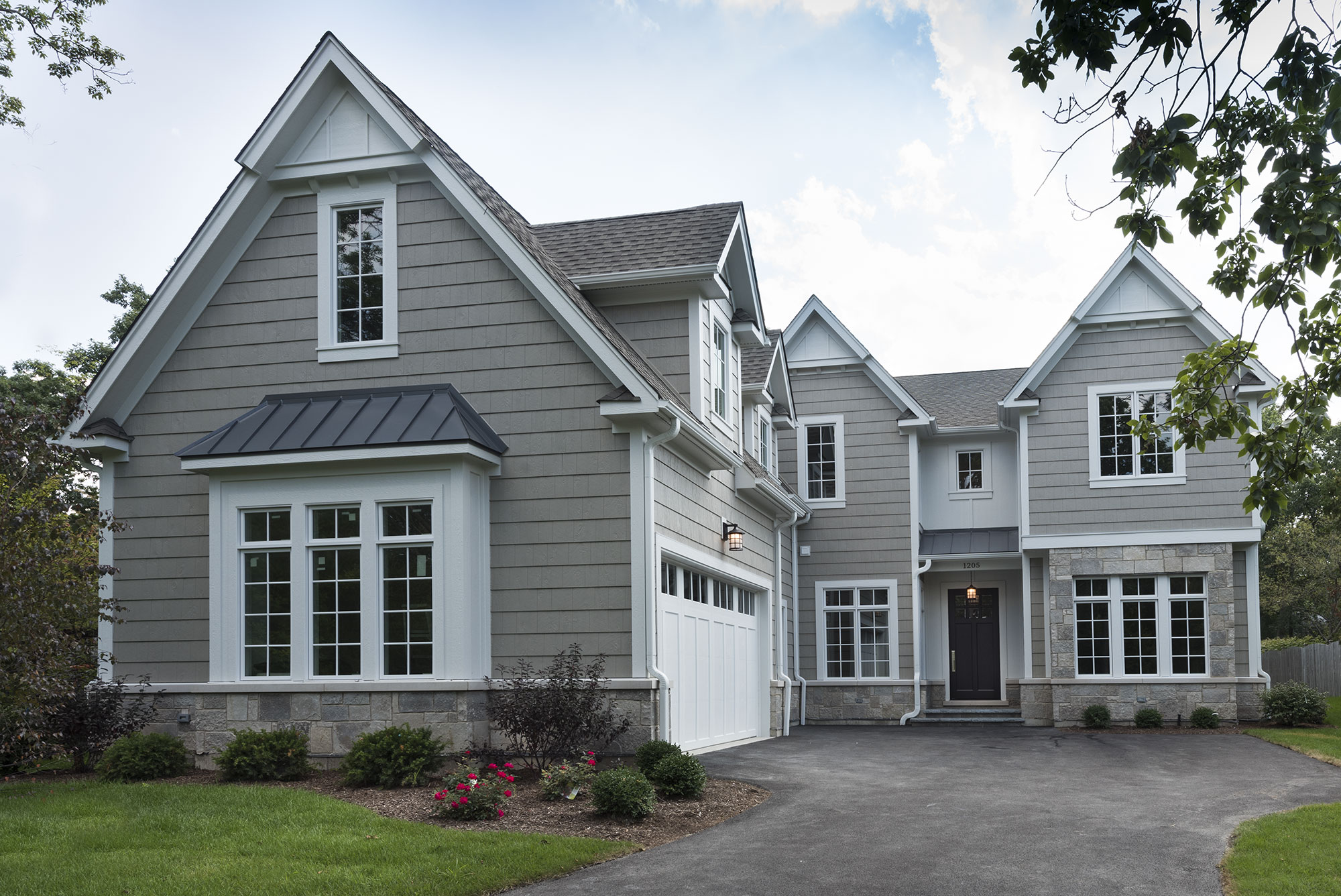 front elevation transitional style custom home glenview haus