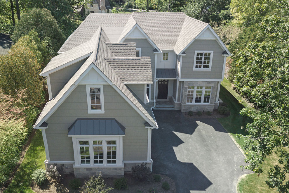 1205-Pleasant-Glenview - Front-Elevation-Aerial-View - Globex Developments Custom Homes