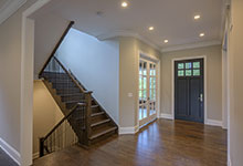 1205-Pleasant-Glenview - GD-112PW Mahogany with Espresso Finish Front Door, Stairs - Globex Developments Custom Homes