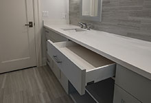 1429-Pleasant-Glenview - Bathroom, Custom Vanity, Open Drawer - Globex Developments Custom Homes