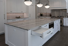 1429-Pleasant-Glenview - Kitchen Custom Cabinets, Island, Open Drawer - Globex Developments Custom Homes