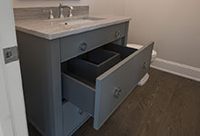 1429-Pleasant-Glenview - Power Room Custom Vanity, Open Drawer - Globex Developments Custom Homes