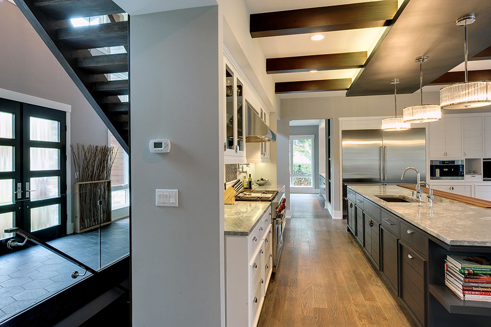 1431-Meadow-Glenview - Kitchen-Staircase-View - Globex Developments Custom Homes