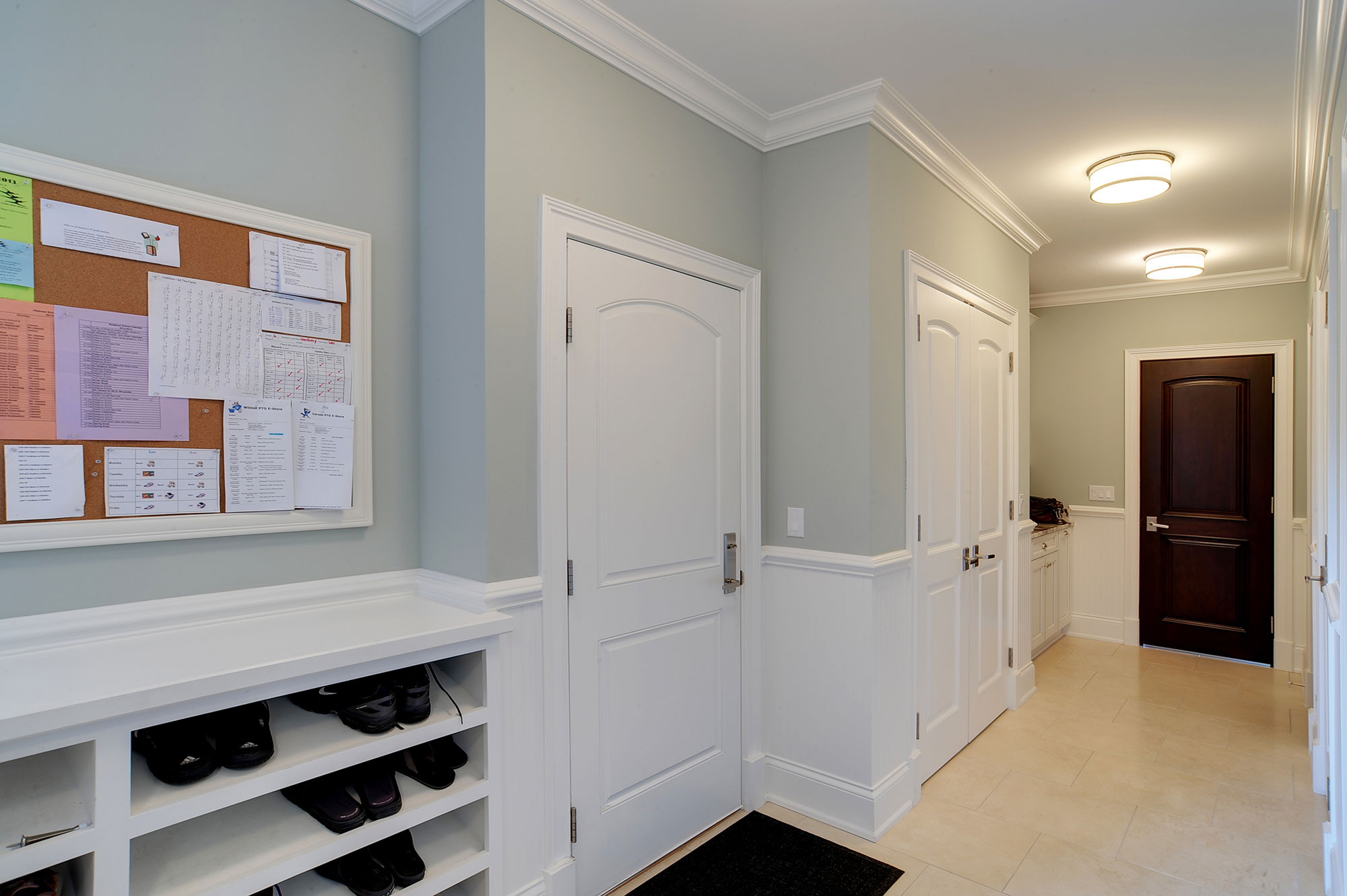 Mudroom With A Double Paneled Paint Grade Mdf Interior Door A