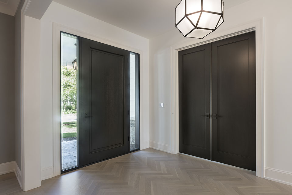 1444-Hawthorne-Glenview - Front-Door-with-Clear,-Beveled-Glass-Sideliites-and-Library-Interior-Double-Door - Globex Developments Custom Homes