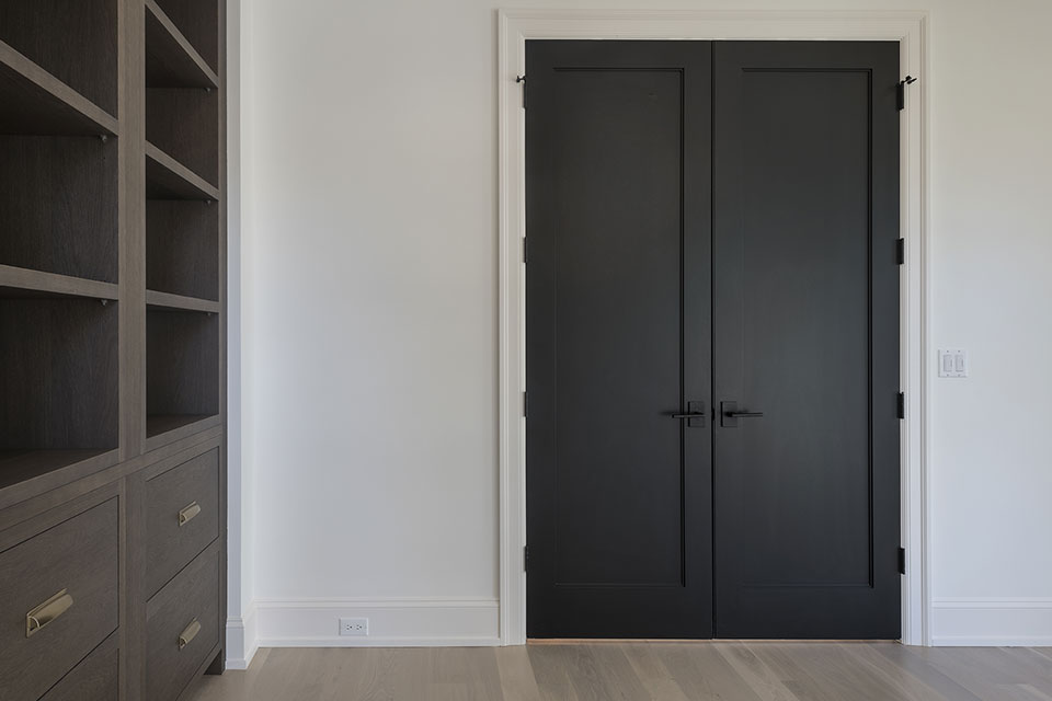 1444-Hawthorne-Glenview - Interior-Double-Doors-Library-Painted-Black - Globex Developments Custom Homes