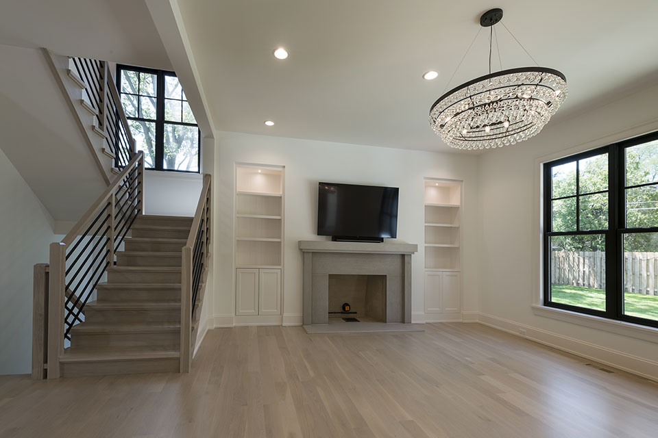 1444-Hawthorne-Glenview - Stairs,-Family-Room,-Fireplace - Globex Developments Custom Homes