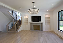 1444-Hawthorne-Glenview - Family Room, View with Stairs and Windows - Globex Developments Custom Homes