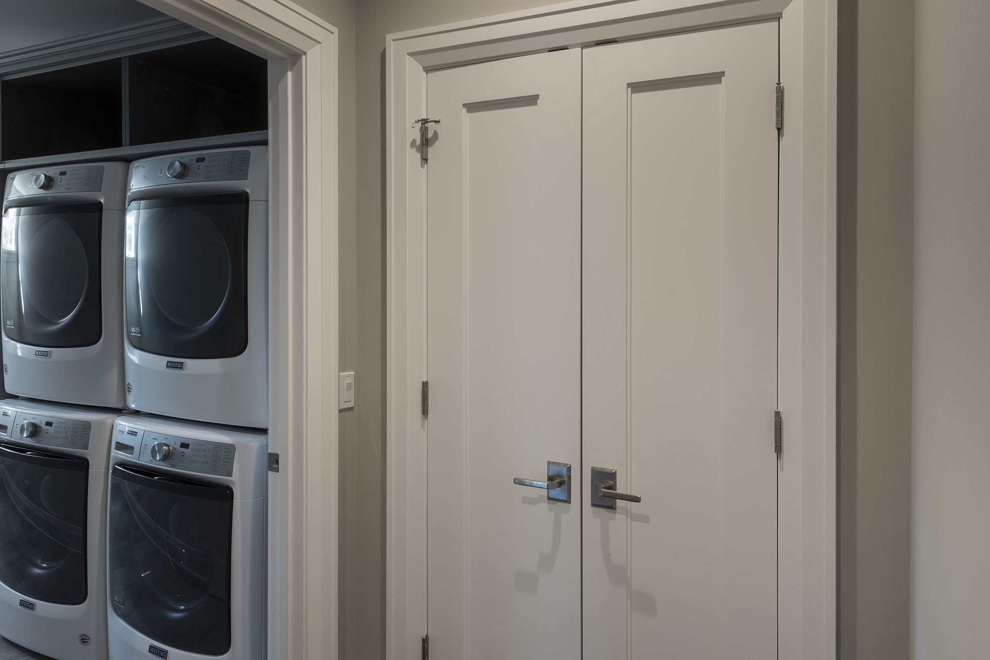 Closet Double Doors Laundry Entrance New Custom Homes Globex Developments Inc Custom Home Builders In Glenview New Construction House Building Professional Home Remodeling Projects Best Builder In Glenview