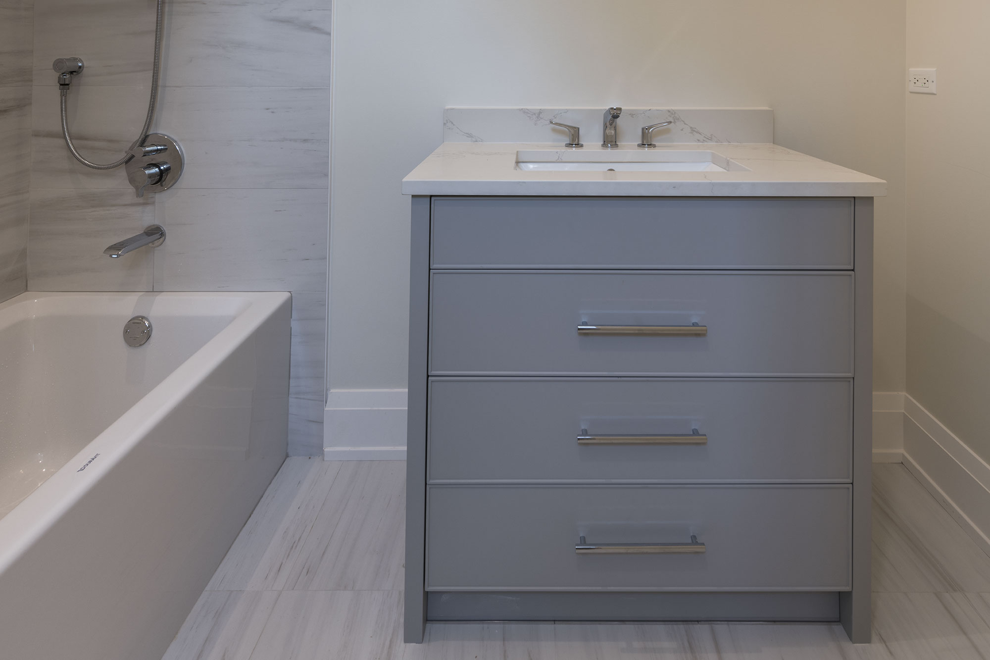 Guest Bathroom Vanity Transitional Style Custom Home Glenview