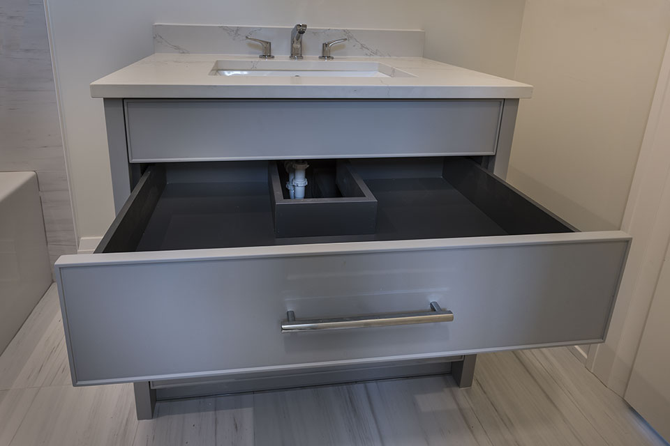 1525-Canterbury-Glenview - Guest-Bathroom-Vanity,-Open-Drawer-CloseUp - Globex Developments Custom Homes