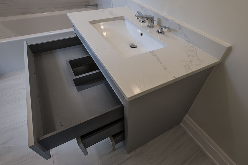 1525-Canterbury-Glenview - Guest-Bathroom-Vanity,-Open-Drawer - Globex Developments Custom Homes