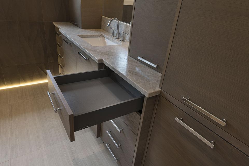 1525-Canterbury-Glenview - Master Bathroom Cabinets, Drawer Inside - Globex Developments Custom Homes