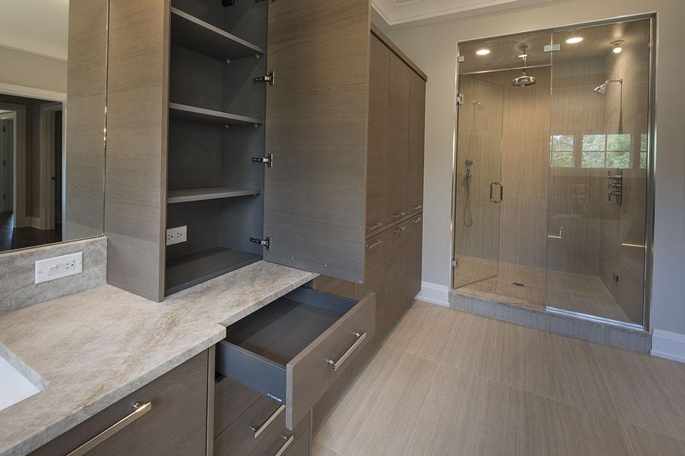1525-Canterbury-Glenview - Master Bathroom Custom Cabinets, Open Drawer - Globex Developments Custom Homes