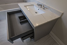 1525-Canterbury-Glenview - Guest Bathroom Vanity, Open Drawer - Globex Developments Custom Homes
