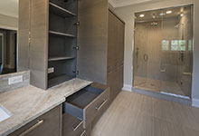 1525-Canterbury-Glenview - Master Bathroom Custom Cabinets, Open Drawer - Globex Developments Custom Homes