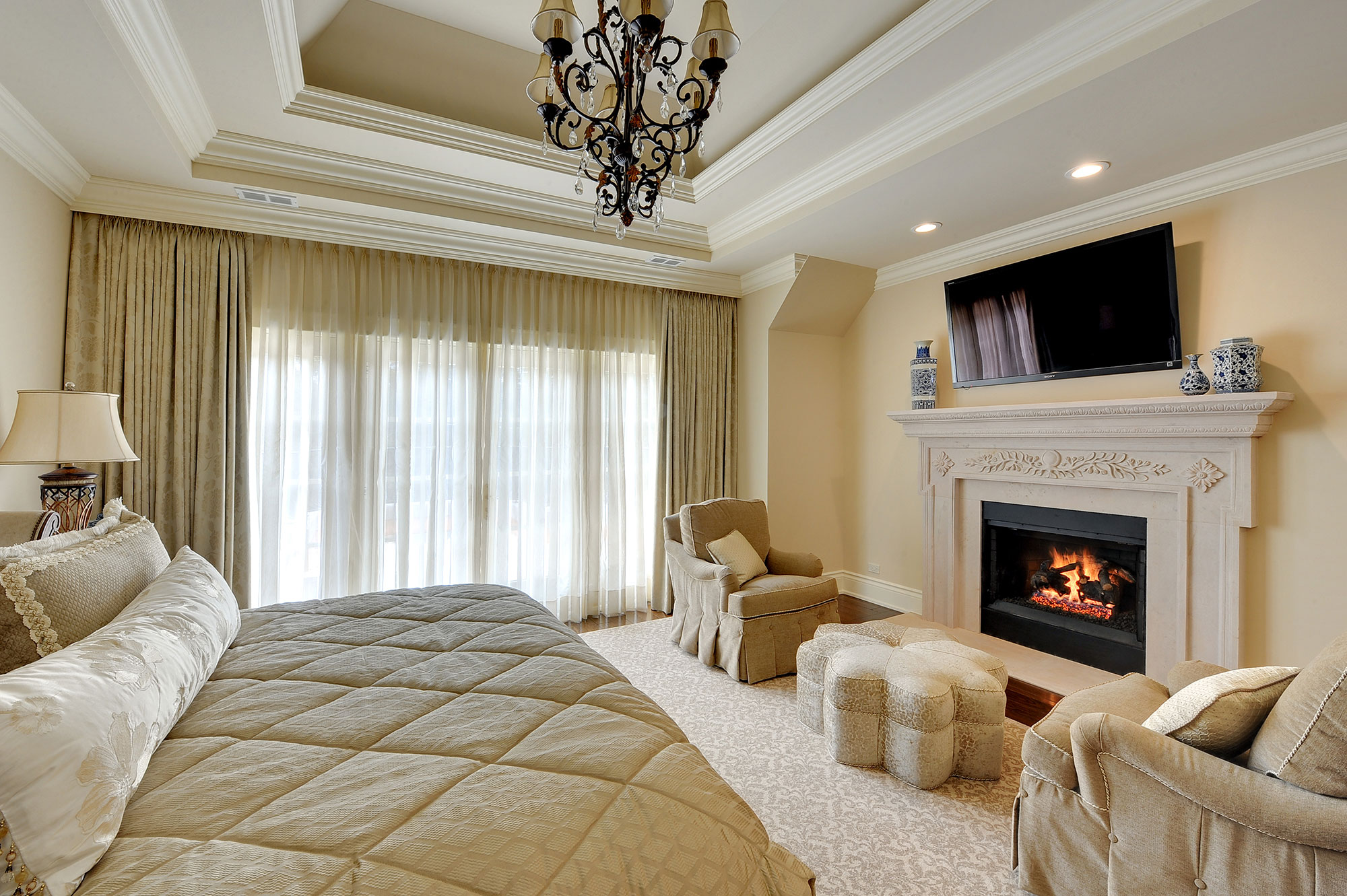 Bed | Master-Bedroom-Fireplace | New Custom Homes | Globex ...