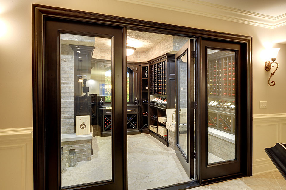 Custom Wine Cellar - See-through, custom-made glass panel wine cellar entry system Meadow Ln., Glenview, Glenview Haus Photo Gallery, Chicago