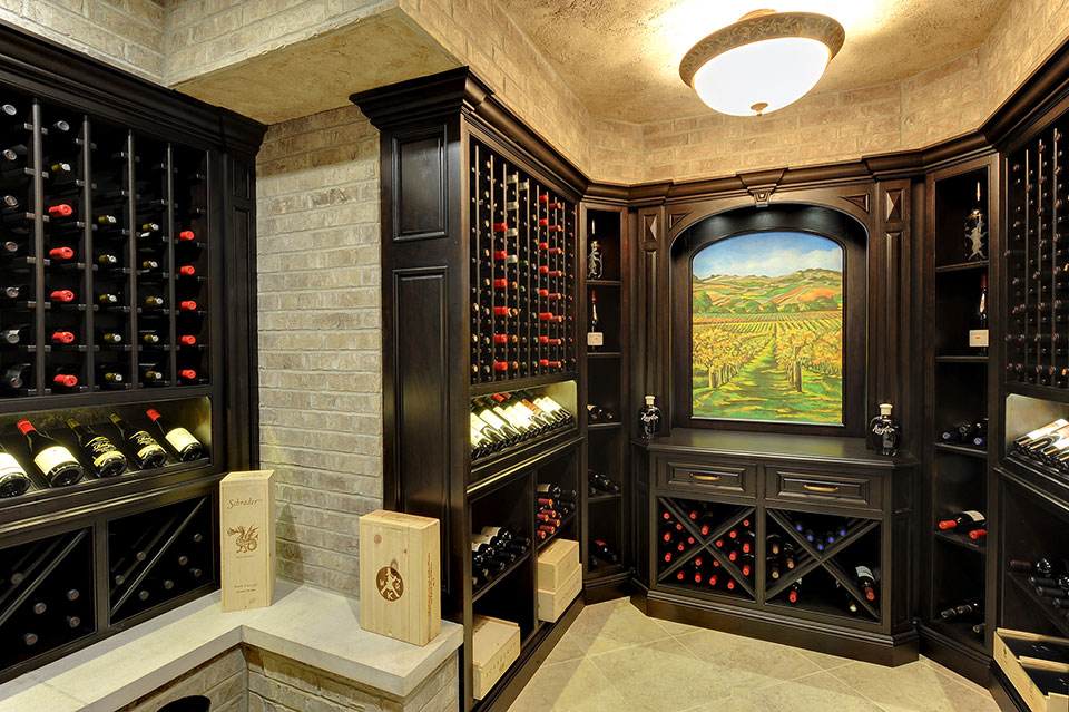 Custom Wine Cellar - Wooden custom centerpiece and wine tasting area Meadow Ln., Glenview, Glenview Haus Photo Gallery, Chicago