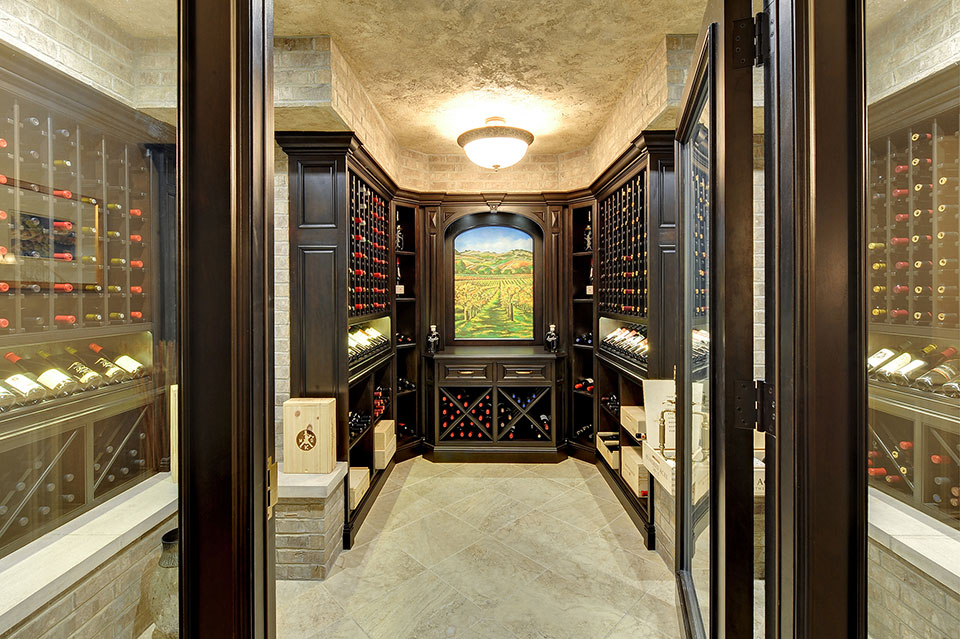 Custom Wine Cellar - Entrance view of wine cellar showing elegant, landscape painting Meadow Ln., Glenview, Glenview Haus Photo Gallery, Chicago