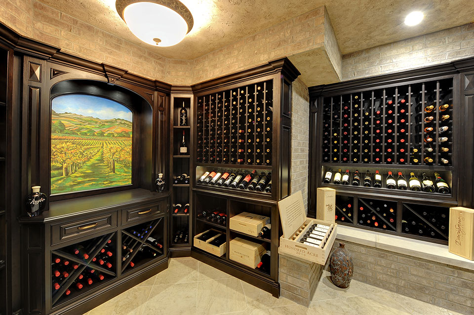 Custom Wine Cellar - Sideview display with trophy bottles and wine storage solutions Meadow Ln., Glenview, Glenview Haus Photo Gallery, Chicago
