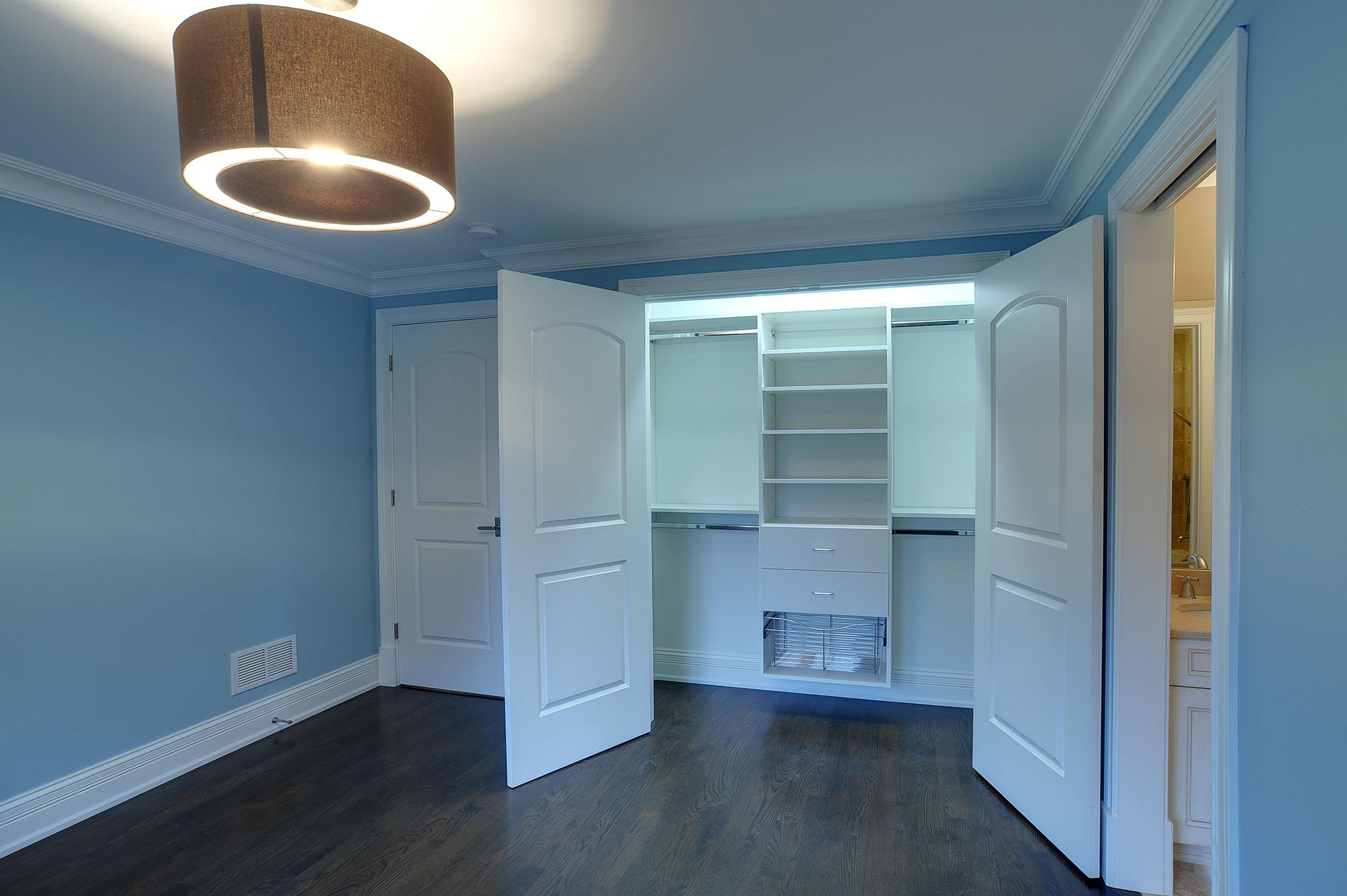 Bedroom Custom Closet With Double Paneled Paint Grade Mdf Closet