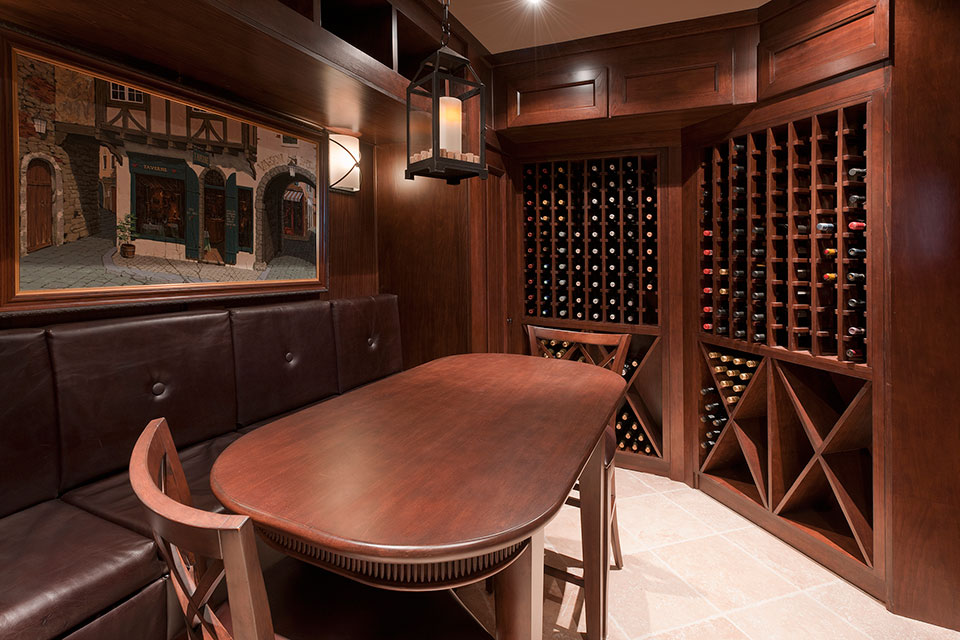 Custom Wine Cellar - Tasting area with view of wooden wine storage displays Linneman St. Glenview, Glenview Haus Photo Gallery, Chicago