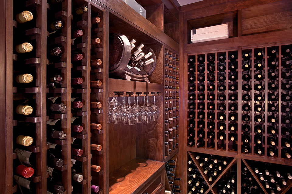 Custom Wine Cellar - Side view of wine cellar centerpiece with elegant glassware display Linneman St. Glenview, Glenview Haus Photo Gallery, Chicago