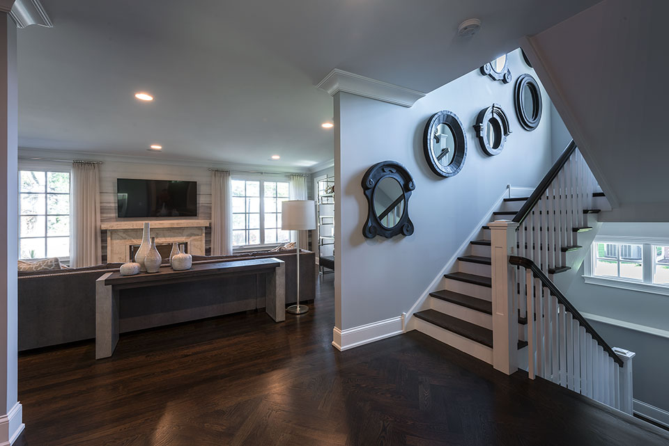 2430-Fir-St-Glenview - Stairs,-Family-Room-View - Globex Developments Custom Homes