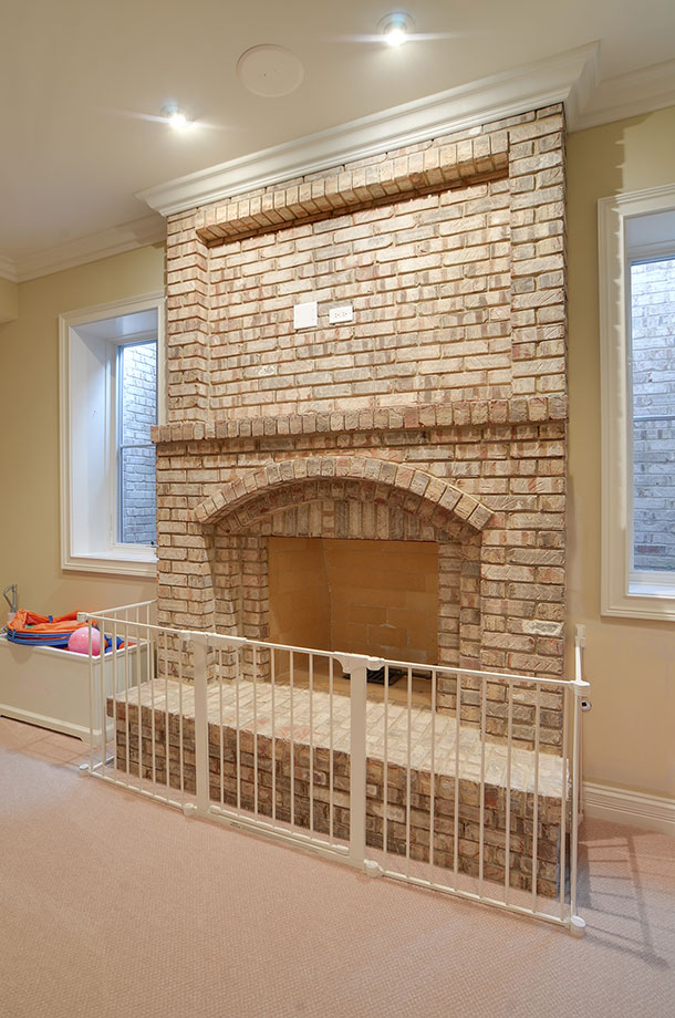30-S-Bruner-Hinsdale - Basement-Fireplace-Detail - Globex Developments Custom Homes