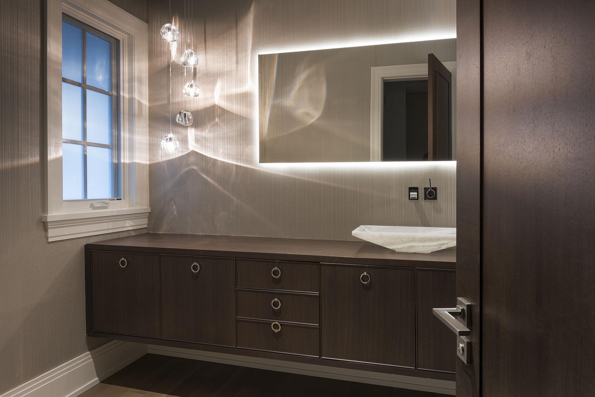 Powder Room Open Door Modern Style Vanity