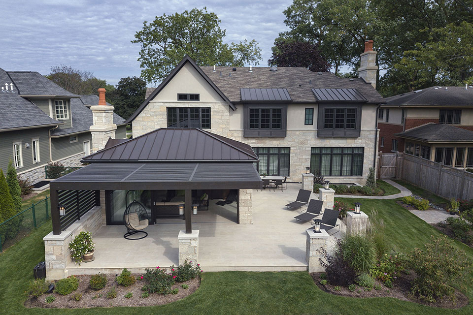 326-Country - Back Elevation Aerial View - Globex Developments Custom Homes