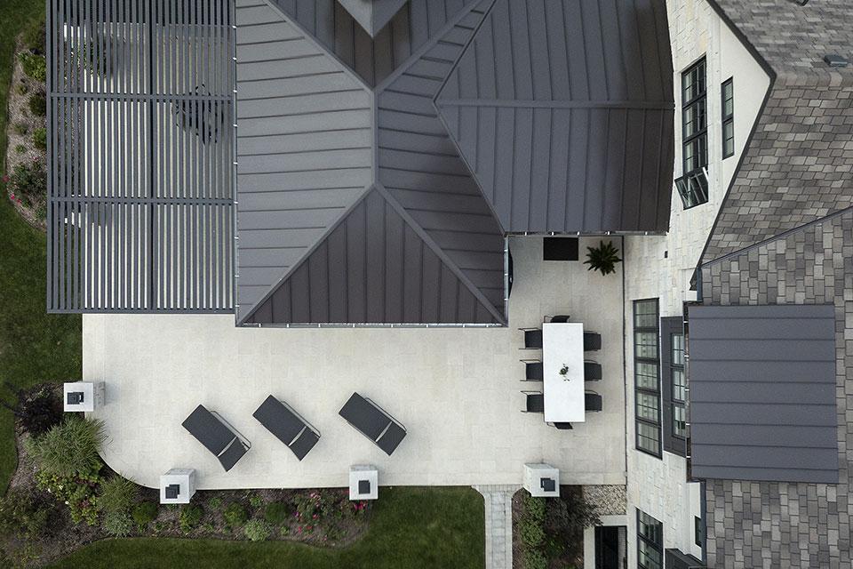 326-Country - Back Porch, Pergola Aerial View - Globex Developments Custom Homes