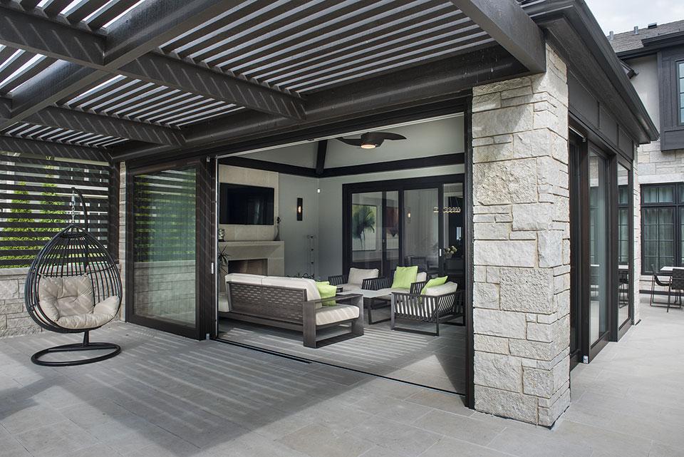 326-Country - Back Porch Pergola, Sunroom Open - Globex Developments Custom Homes