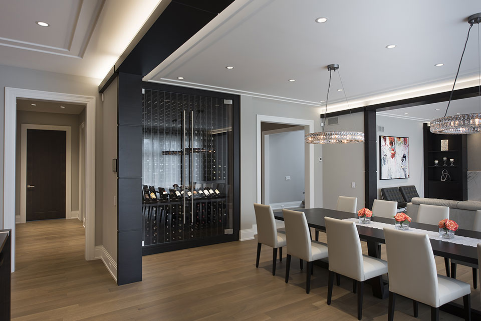 326-Country - Dining-Room,-Custom-Refrigerated-Wine-Cabinet - Globex Developments Custom Homes