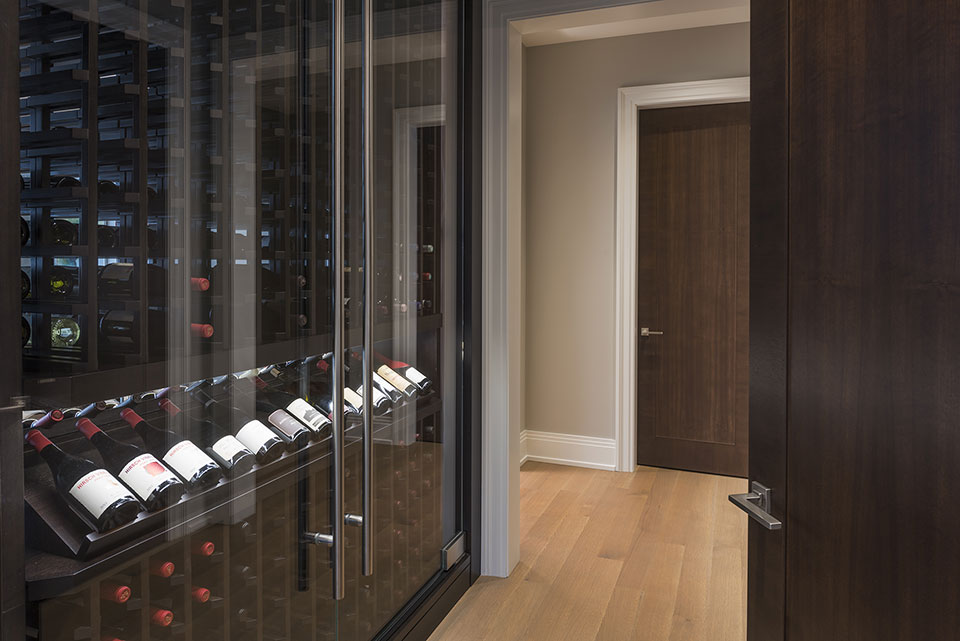 Custom Wine Cellar - Interior Door close-up, Custom Refrigerated Wine Cabinet Modern Single Family Home, Glenview Haus Photo Gallery, Chicago