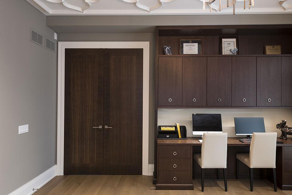 326-Country - Library, Modern Interior Double Door - Globex Developments Custom Homes