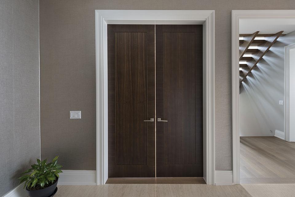 326-Country - Office Modern Door DBIM MD1005 Mahogany Walnut - Globex Developments Custom Homes