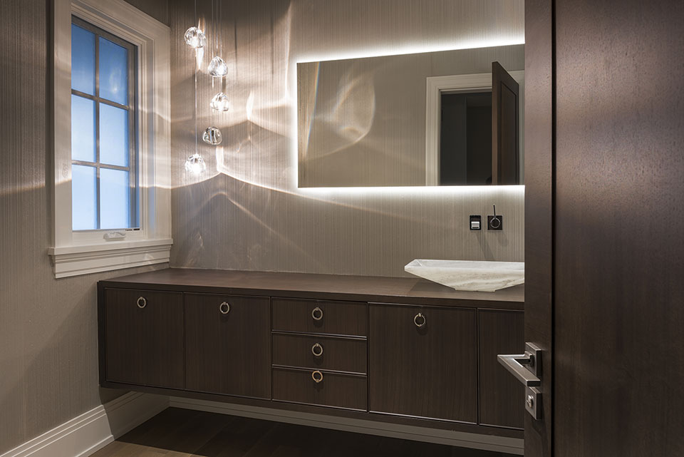 326-Country - Powder-Room,-Open-Door,-Modern-Style-Vanity - Globex Developments Custom Homes