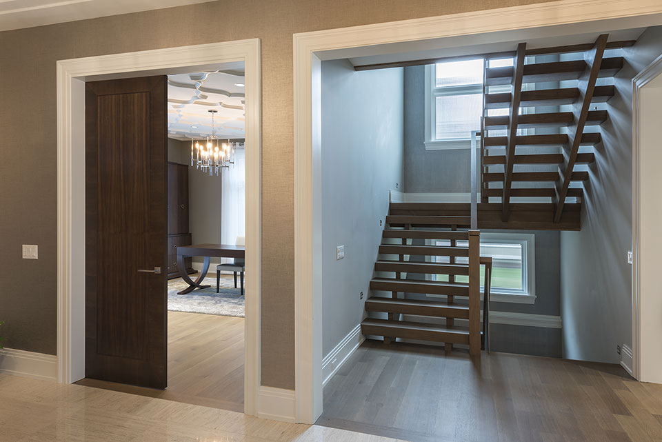 326-Country - Stairs,-Library-Door - Globex Developments Custom Homes