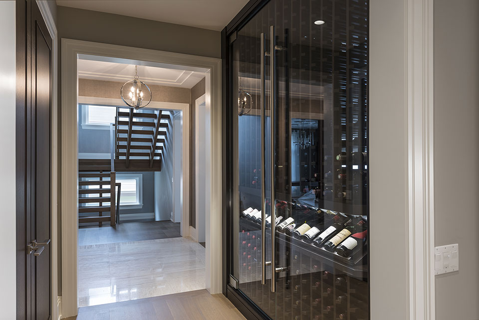 Custom Wine Cellar - Wine Cellar Cabinet Stairs View Modern Single Family Home, Glenview Haus Photo Gallery, Chicago