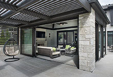 326-Country - Back Porch Pergola, Sunroom Open - Globex Developments Custom Homes