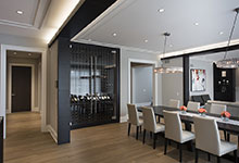 326-Country - Dining Room, Custom Refrigerated Wine Cabinet - Globex Developments Custom Homes