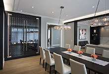 326-Country - Dining Room, Table, Custom Refrigerated Wine Cabinet - Globex Developments Custom Homes