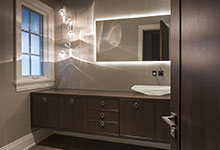 326-Country - Powder Room, Open Door, Modern Style Vanity - Globex Developments Custom Homes