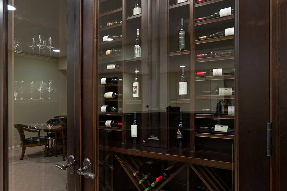 Custom Wine Cellar - Custom-made double glass door enhances presentation of various wines  Surrey St., Glenview, Glenview Haus Photo Gallery, Chicago