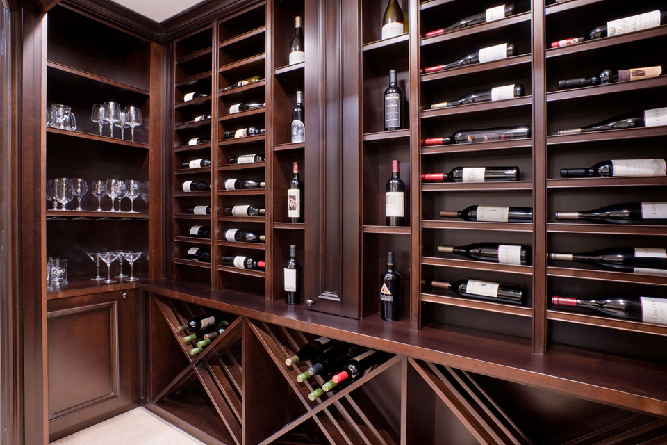Custom Wine Cellar - Trophy bottle display with significant shelving for wine storage solution Surrey St., Glenview, Glenview Haus Photo Gallery, Chicago