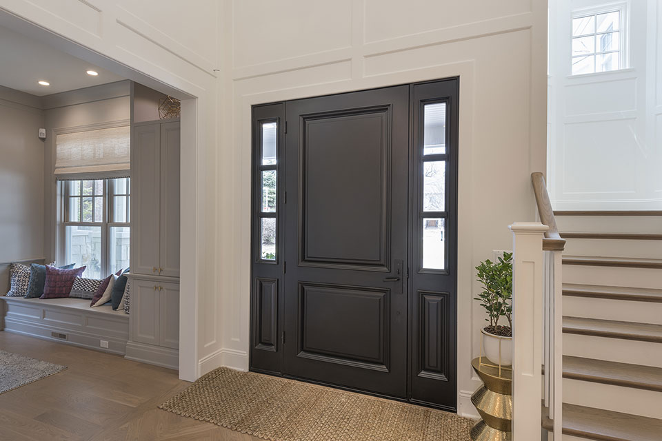 Glenview-Coastal - DB 301PW 2SL Front Door, Interior Library View - Globex Developments Custom Homes